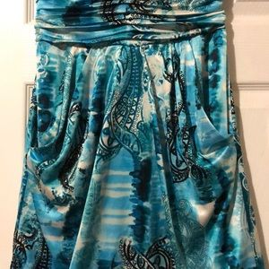 Macy's Dresses - Teal/Blue Silky Sweetheart dress with pockets!